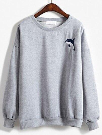 Round Neck Dolphin Embroidered Sweatshirt