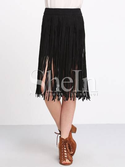 Black High Waist Tassel Skirt