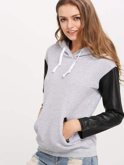 Grey Hooded Contrast PU Leather Zipper Sweatshirt