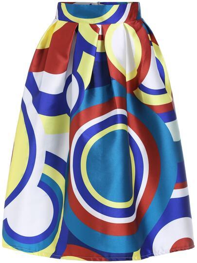 Multicolor High Waist Circle Print Skirt
