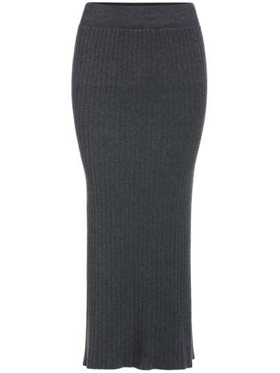 Grey Slim Split Knit Skirt