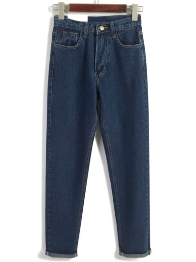 Vintage High Waist Denim Navy Pant