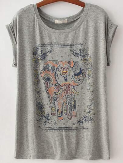 Elephant Print Grey T-Shirt