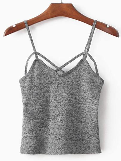 Spaghetti Strap Grey Cami Top