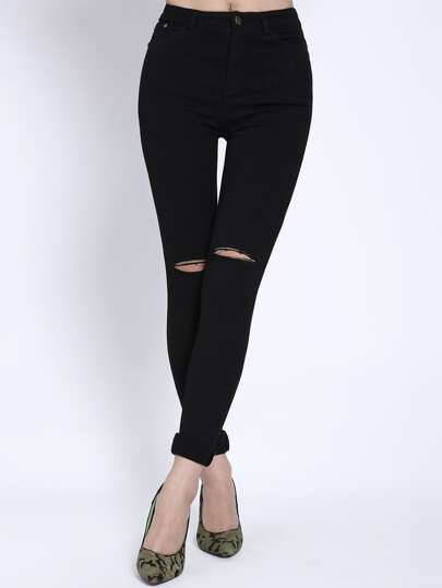 High Waist Ripped Denim Slim Pant