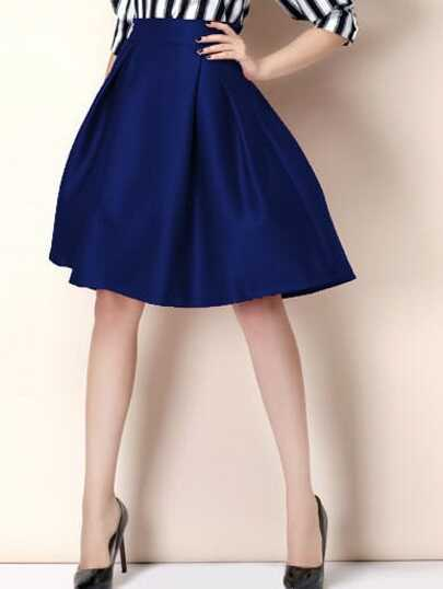 Zipper Flare Blue Skirt
