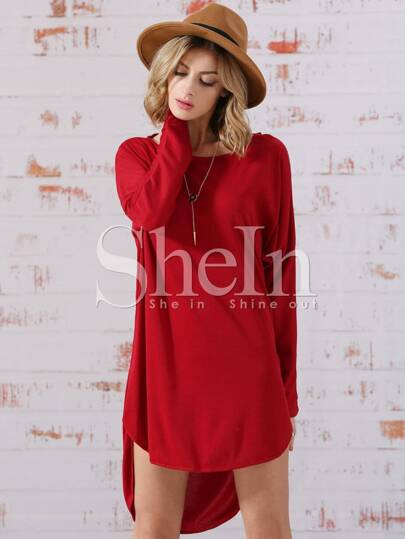 Red Dolman Round Neck Bat Sleeve High Low Dress
