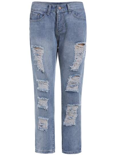 Blue Ripped Denim Harem Pant