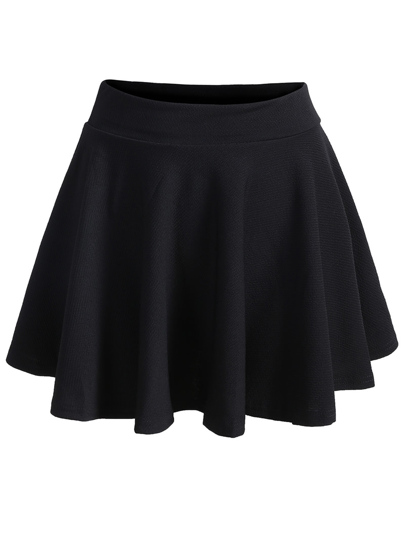 Elastic Waist Pleated Black Skirt