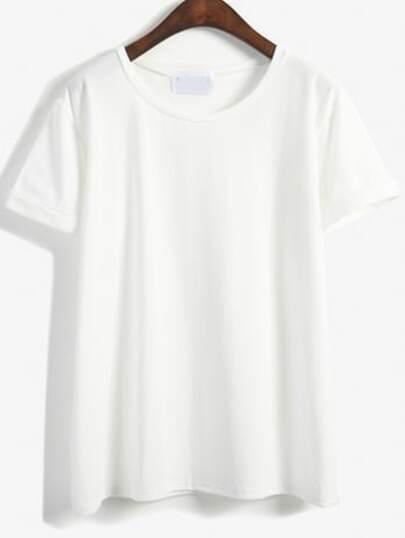 Cuffed Loose White T-shirt