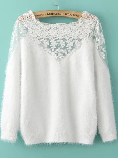 Lace Paneled Mohair White Sweater