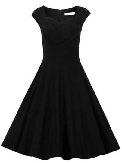 Heart Shape Collar Raw Sleeveless Dress