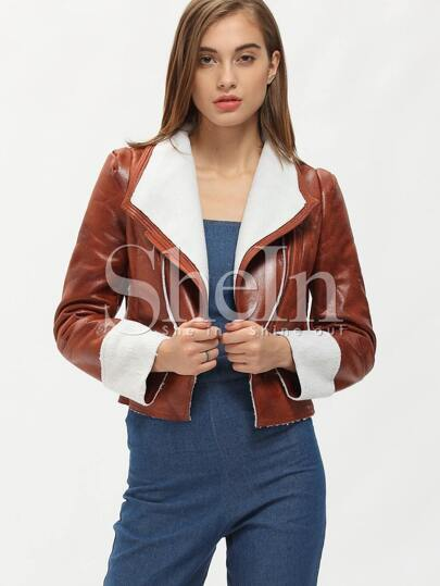 Brown Long Sleeve Zipper Jacket