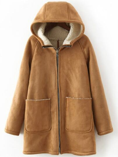 Khaki Hooded Pockets Zipper Loose Coat