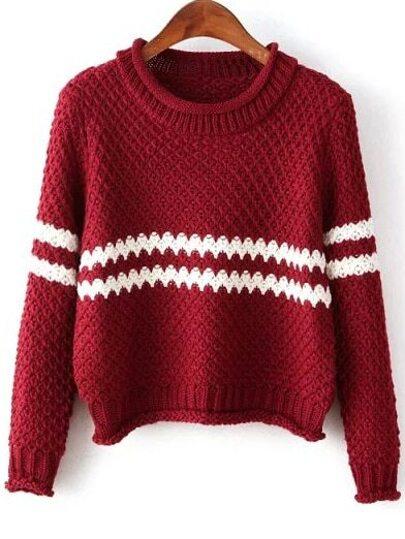 Jersey cuello redondo rayas crop tejido -rojo