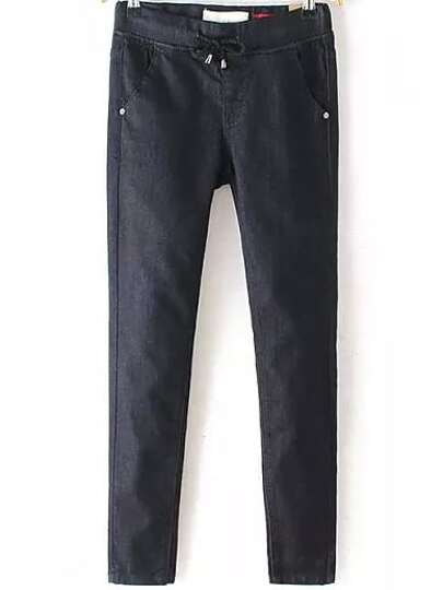 Black Drawstring Waist Pockets Slim Pant