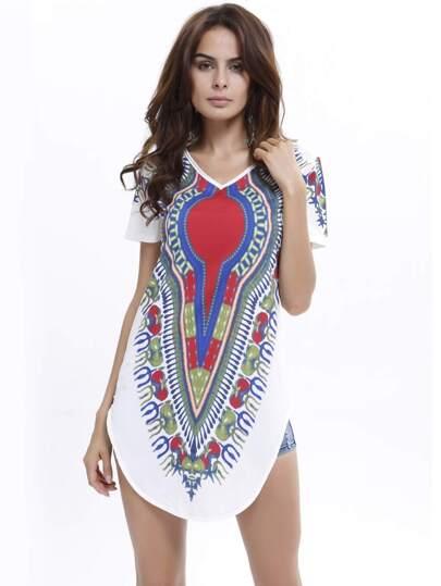Multicolor V Neck Floral Loose T-Shirt