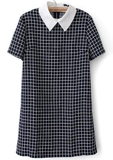 Contrast Collar Plaid Back Zipper Dress