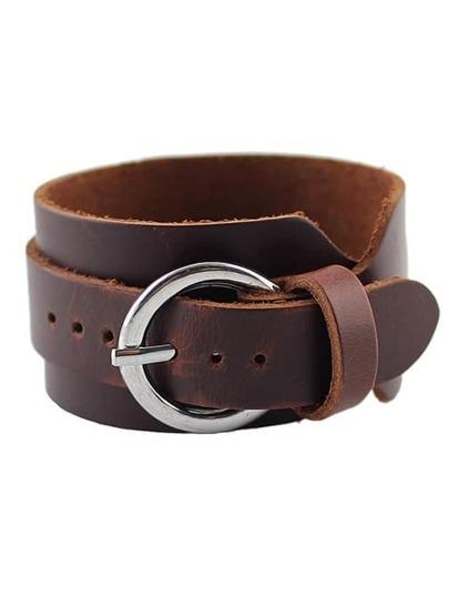 Bracelet vintage en cuir - Brun