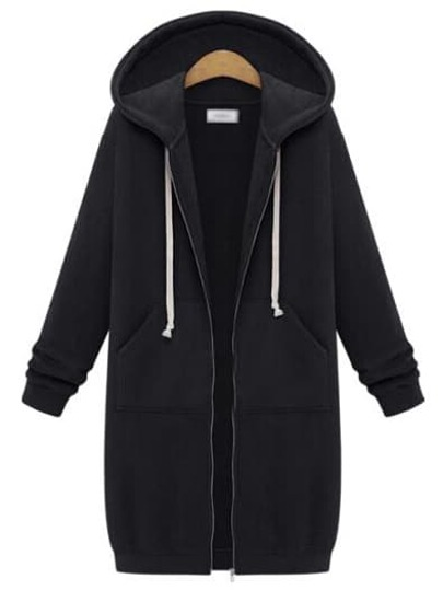 Hooded Drawstring Zipper Black Coat