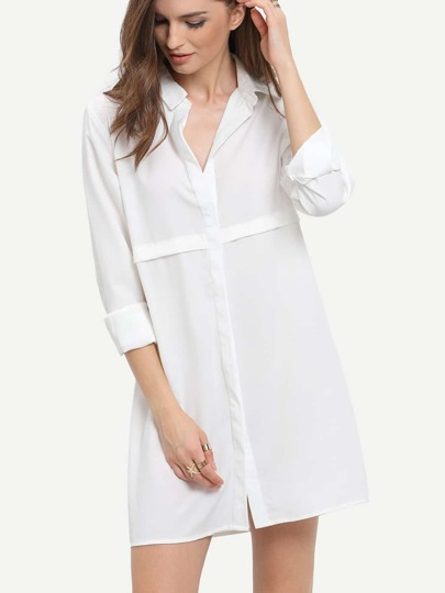 White Lapel Loose Casual Shirt Dress
