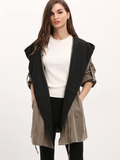 Khaki Hooded Drawstring Pockets Coat