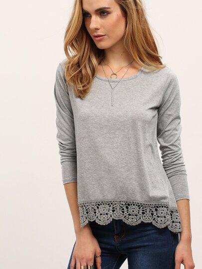 Long Sleeve Crochet Loose T-shirt
