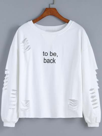White Round Neck Cut-out Letters Print Sweatshirt