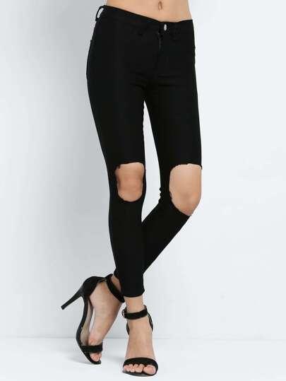 schmale Hose mit zerrissenen Design-schwarz