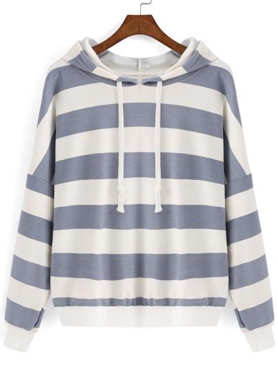 Grey White Hooded Striped Crop Sweatshirt