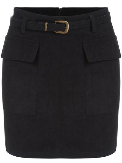 Black Belt Pockets Bodycon Skirt