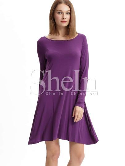 Purple Eggplant Long Sleeve Casual Dress