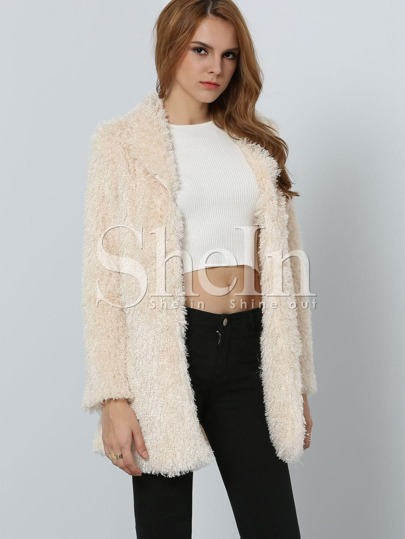 Apricot Long Sleeve Faux Fur Coat