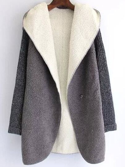 Grey Hooded Long Sleeve Casual Coat