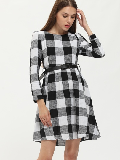 Black White Woven Round Neck Plaid Flare Dress