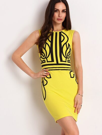 Sleeveless Abstract Print Official Yellow Dress