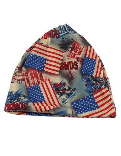 Bonnet imprimé en coton multicolore de dame -bleu