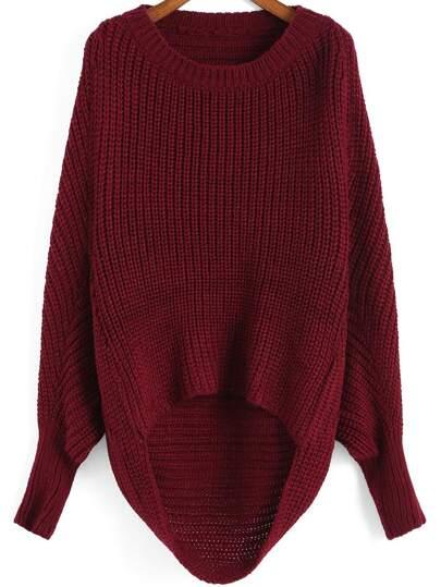 Red Round Neck Dip Hem Knit Sweater