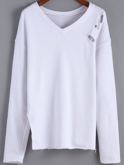 sweat-shirt déchiré col V -blanc
