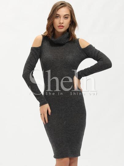 Grey Long Sleeve Cowlneck Turtleneck Cut Out Dress