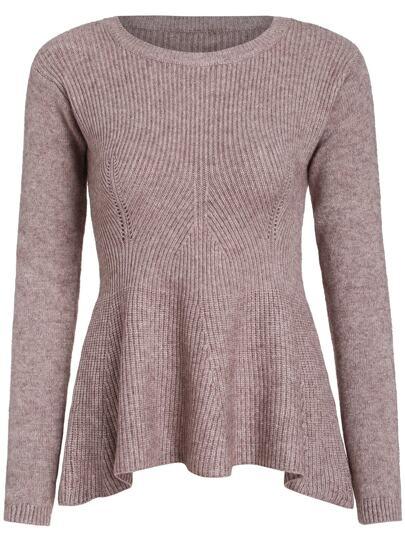 Apricot Round Neck Ruffle Knit Sweater