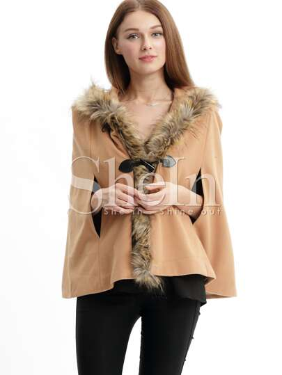 Camel Hooded Cape Coat
