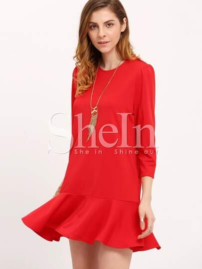 Red Round Neck Ruffle Dress