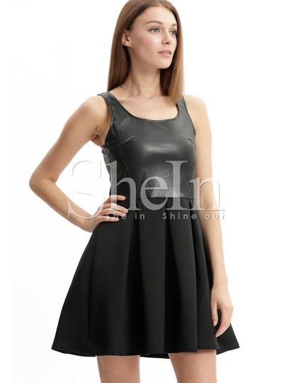 Black Sleeveless Zipper Flare Dress