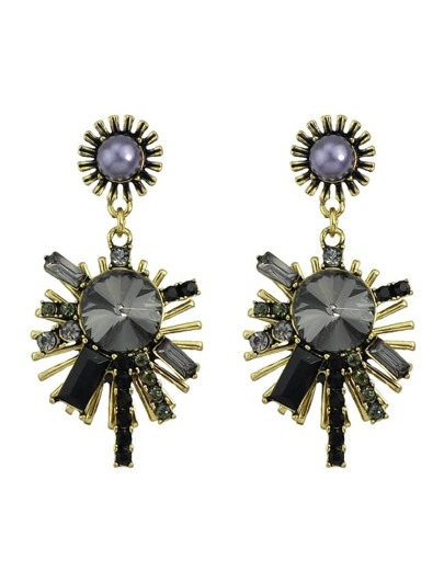 Black Rhinestone Snowflake Shape Earrings