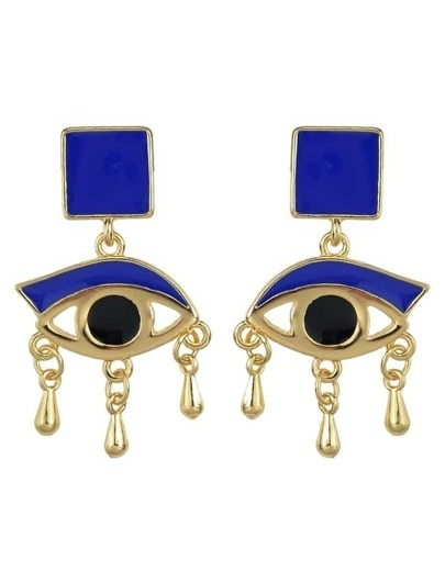 Blue Enamel Eye Shape Stud Earrings