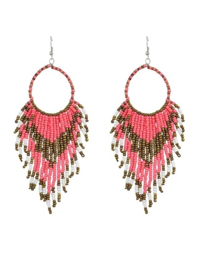 Pink Long Drop Beads Earrings
