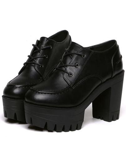 Black Lace Up PU Chunky Heels