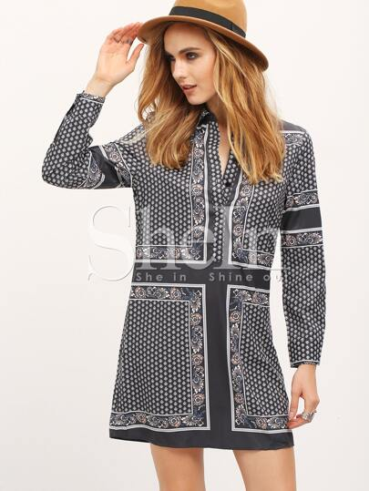 Multicolor Long Sleeve Lapel Vintage Print Dress