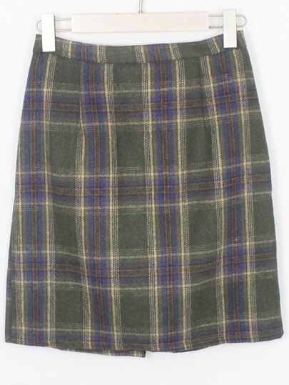 Green Blue Plaid Bodycon Skirt